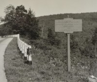 This variant-shaped marker for McKean Forest has an unusual level of information. It is not known what the colors of this marker were, but the text surely did not contrast well with the background color. (Pennsylvania Department of Highways Collection, Pennsylvania State Archives: RG-12 OL 5-0601 box 3, #1813)