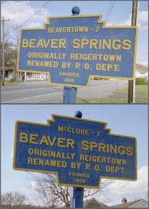 Two markers at Beaver Springs. The top line differs depending on your direction of travel.
