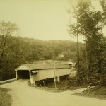 Notice the Keystone Marker just to the left of the tree at the extreme left in this 9/28/1936 photo of the Bucknell Covered Bridge over Little Swatara Creek in Jonestown, Lebanon County.  Submitted by Matt Hamel