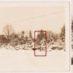 "This is a Wayne, PA, real photo postcard, postmarked 1944, depicting the ""Five Points"" intersection of Conestoga Road, Church Road, Iven Avenue and Aberdeen Avenue. Hidden within the snow-covered foliage is a keystone marker. This particular marker is somewhat notorious for its restoration and re-location to the center of town. The full story is in the article posted here.  The location today is seen in this Google street view. The re-located sign is now in a prominent spot in the center of town, and it has become a well-recognized fixture. See it here.  Courtesy of Greg Prichard"