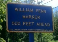While not a Keystone Marker, this marker is of a similar age and construction. Installed by Historical Society of Berks County.  Location:  Route 422 at roughly 40 deg 16 min 27.93 N latitude and 75 deg 46 min 54.51 W longitude. Photo courtesy of John Glanfield.