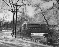 This photograph, dated 1945, shows the famous Knox covered bridge at Yellow Springs Road in Valley Forge. The visible keystone marker identifies Valley Creek. (Radnor Historical Society)
