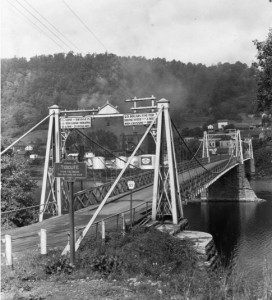The earliest known photograph of a Keystone Marker. Location is Tidioute Bridge.