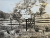 A remarkably scenic photograph of a directional marker pointing the way to Monterey and Waynesboro. These markers are believe to have been painted black and white. (Pennsylvania Department of Highways Collection, Pennsylvania State Archives: RG-12 OL 5-0609 carton 6, #3153)