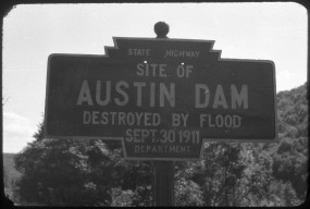 Undated close-up photo of the Austim Dam marker shows its homemade quality.