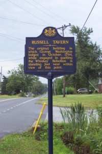 PHMC Marker currently adjoining Russell's Tavern. Photo by J. Graham.