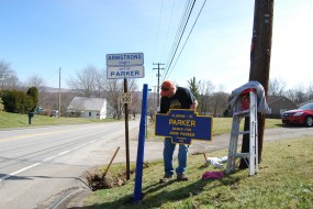 March 2016 shows Mike Wintermantel reinstalling the marker