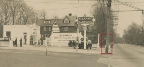 1934 photograph shows confirmed location at intersection with Aberdeen Avenue.