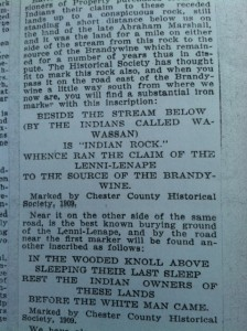 Photo of 1909 article from Chester Co. Hist. Soc. archives by JGl.